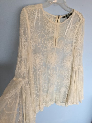 Coachella Lace Embroidered Top Peasent Sleeves SM