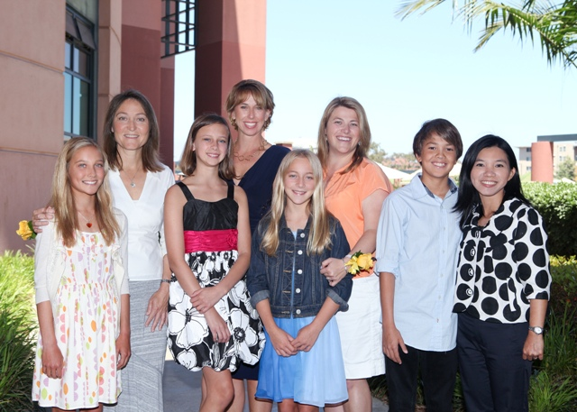 Coronado Middle School Best Moms 2013. From left to right are:  Sydney Zoehrer, Alice Zoehrer, Ashlyn Hirsch, Elizabeth Hirsh, Madellin Ellis, Julie Ellis, Sam Wright, Worarat Wright.  Not captured in this group shot are Sara Boswell (mom) and Lacey Brauer. Photo TWC.