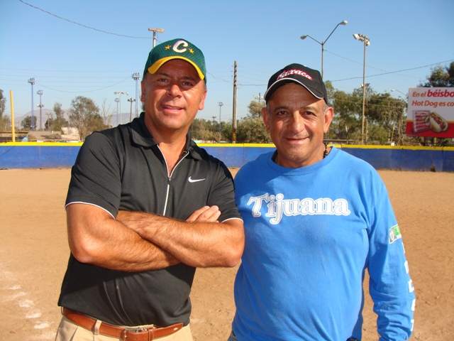Alejandro Valle, Coronado Little League Player Agent, and Marco Soto during a visit at Liga Municipal de Tijuana