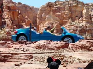 Radiator Springs Racers in action at Cars Land. Photo S. Valle