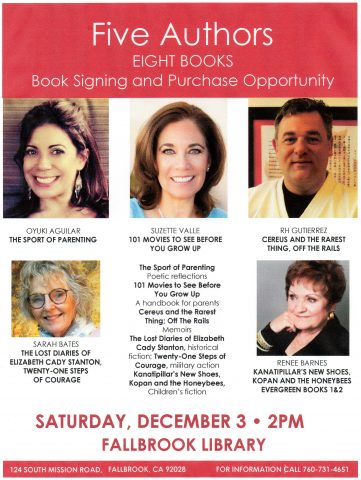 Five Authors will showcase their books at the Fallbrook Library December 3.