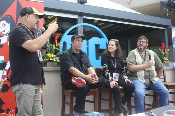 DC Comics Dan Didio, Jimmy Palmeotti, Amanda Conner, and Paul Dini at Comic-Con 2017. Photo S. Valle