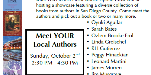 List of San Diego Authors presenting at Upstartcrow Coffeehouse.