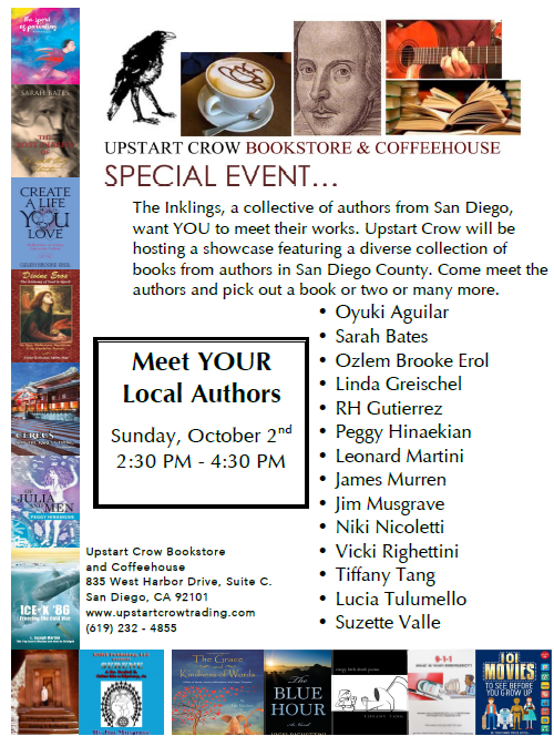 San Diego Authors presenting at Upstartcrow Coffeehouse.