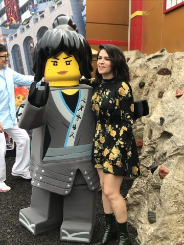 Abbi Jacobson with Nya, her character in The Lego Ninjago Movie