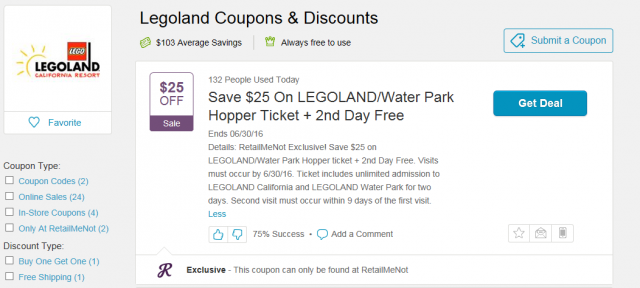 Retail Me Not LEGOLAND Offer