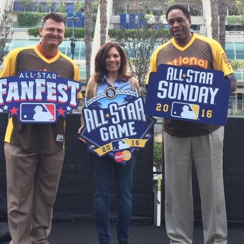 MLB All Star Game Baseball Legends Trevor Hoffman and Dave Winfield with Suzette Valle