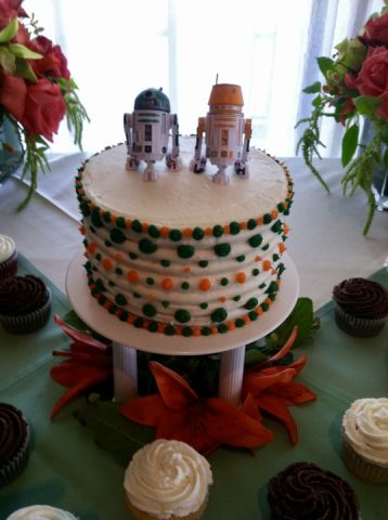 Mr. and Mrs. Atchity's Star Wars themed wedding cake. Photo courtesy of M. Atchity.