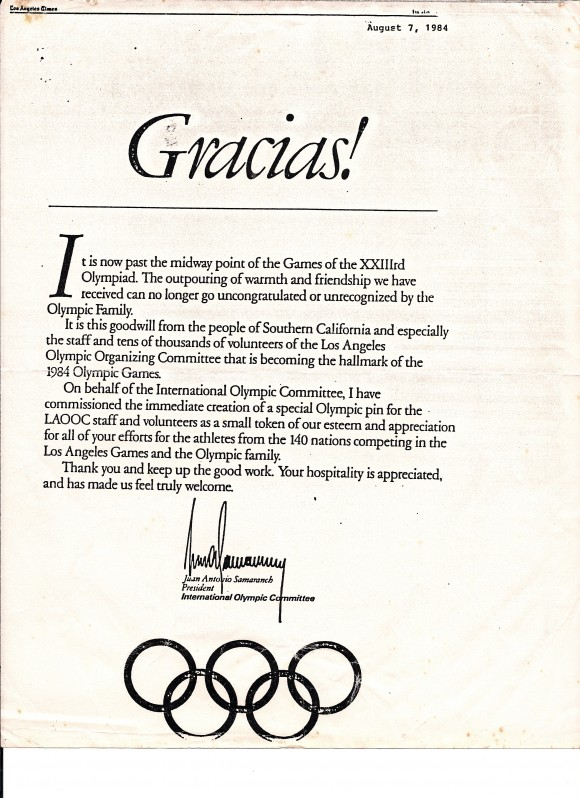 Olympic Letter Gracias