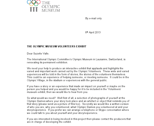 Olympic Museum Letter