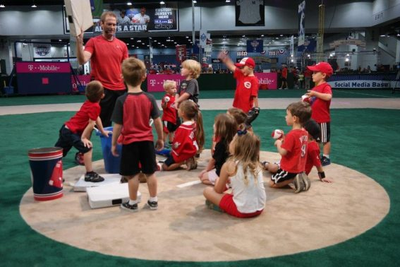 Kids get a lesson at MLB's Fan Fest