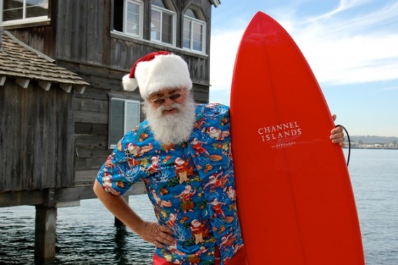 Santa in front Pier Cafe