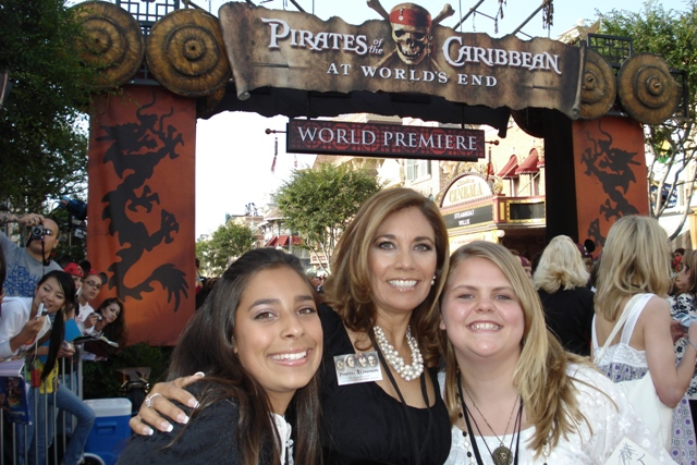 Red Carpet at Pirates Premier at Disneyland. Bianca and Suzette Valle and Bailee Davis.