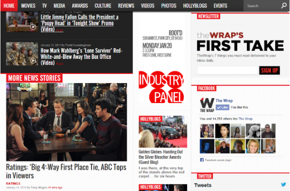 The Wrap Golden Globes Home Page