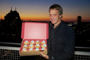Tony Hawk and founder Candice Nelson will be serving Sprinkles cupcakes at the La Jolla store to raise money for The Tony Hawk Foundation.