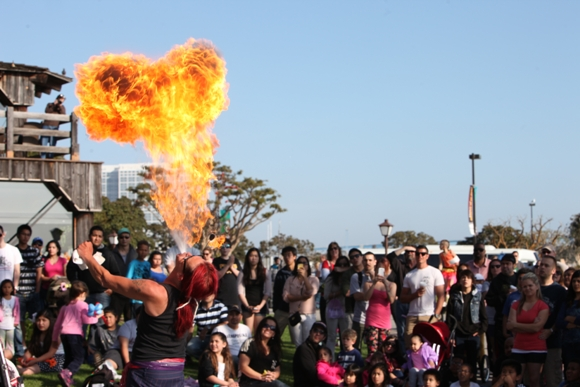 Fire-eater performing at the Seaport Village Spring Busker Festival. Photo courtesy of Seaport Village