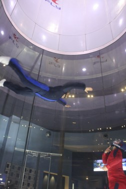 Alex is able to maneuver his body around the iFLY tunnel after 3 sessions.