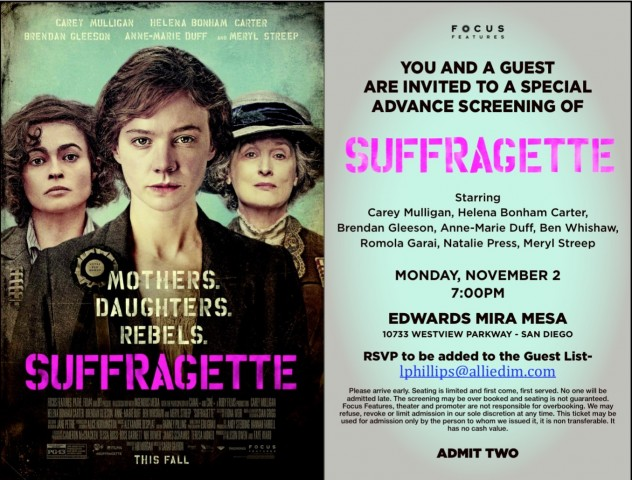 "RSVP for FREE admission to a screening of "" Suffragette"""
