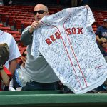 Red Sox fan with signed jersey