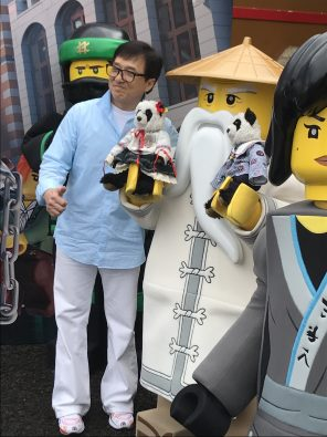 Jackie Chan with Master Wu at Legoland, CA for The Lego Ninjago Movie press junket.