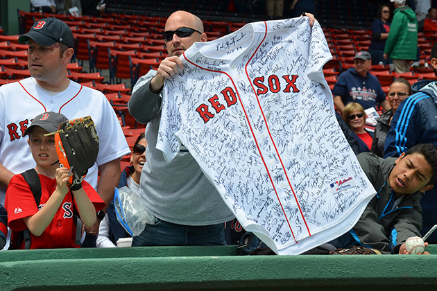 612849934d0 Red Sox fan with signed jersey. Red Sox fan with signed jersey. Major  League Baseball Wants To Enshrine Your Jersey for All-Star Week.